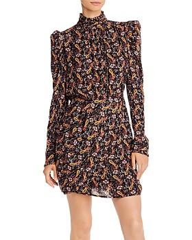 AQUA - Puff-Sleeve Metallic Paisley Dress - 100% Exclusive