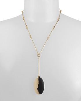"Robert Lee Morris Soho - Sculptural Color-Block Oval Pendant Necklace, 19"""