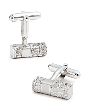 Lanvin Brass Rhodium Plated Rectangle Cufflinks-Men