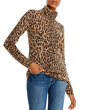 C by Bloomingdale's Leopard Print Cashmere Turtleneck Sweater - 100% Exclusive