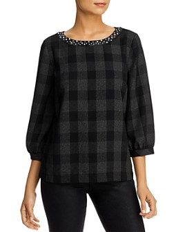 KARL LAGERFELD Paris - Faux Pearl-Trim Crepe Top
