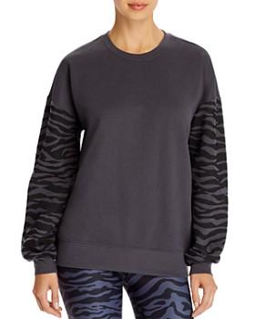 AQUA - Zebra Striped-Sleeve Sweatshirt - 100% Exclusive