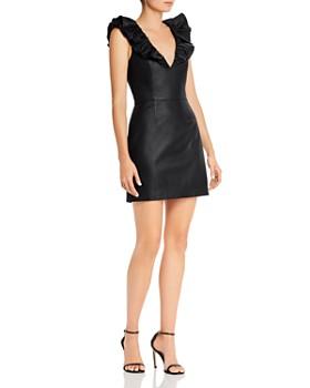Saylor - Vegan Leather Ruffled Mini Dress