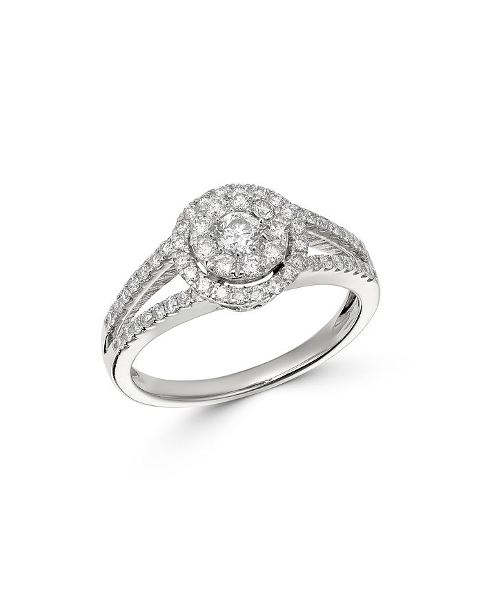 Bloomingdale's - Cluster Diamond Split Shank Ring in 14K White Gold, 0.75 ct. t.w. - 100% Exclusive