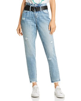 BLANKNYC - Belted Paperbag-Waist Straight-Leg Jeans in Risk Taker
