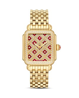 MICHELE - Deco 18 Gold-Tone Diamond Watch, 33mm x 35mm