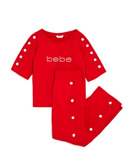 bebe - Girls' Rhinestone Logo Top & Studded Pants - Big Kid