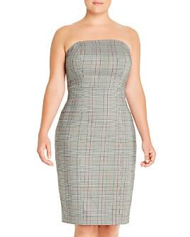 Maree Pour Toi Plus - Strapless Glen Plaid Dress