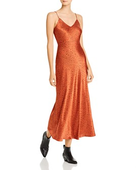 Whistles - Sketched-Dot Satin Slip Dress - 100% Exclusive