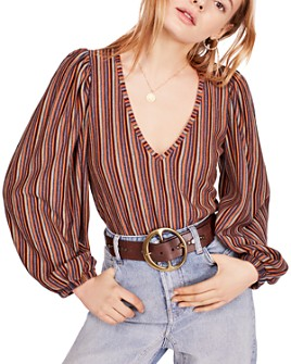 Free People - Autumn Nights Striped Open-Back Top