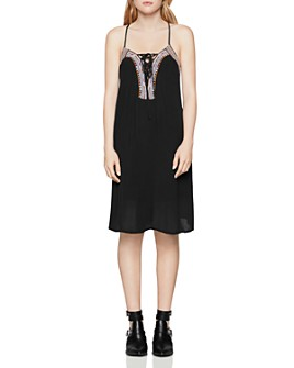 BCBGENERATION - Embroidered Lace-Up Dress