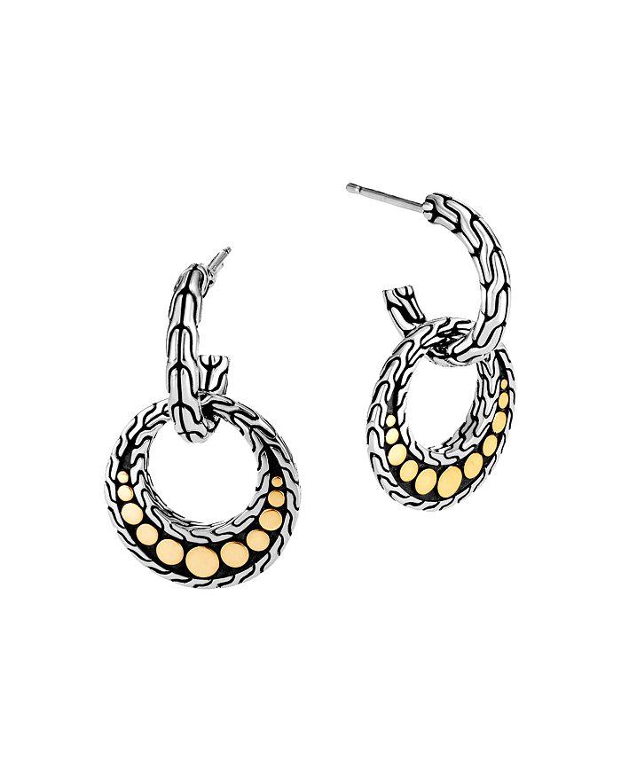 JOHN HARDY - Sterling Silver & 18K Yellow Gold Dot Circle Drop Earrings