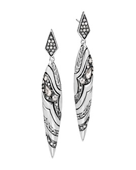 JOHN HARDY - Sterling Silver White & Gray Diamond Spear Drop Earrings