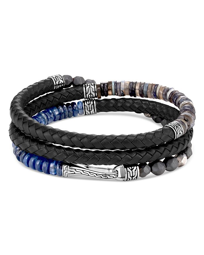 JOHN HARDY - Sterling Silver & Leather Classic Chain Gemstone Triple-Wrap Bracelet