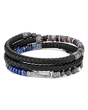 John Hardy Sterling Silver & Leather Classic Chain Gemstone Triple-Wrap Bracelet