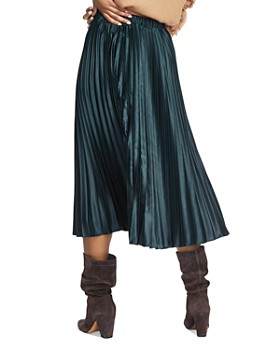 1.STATE - Pleated Satin Midi Skirt