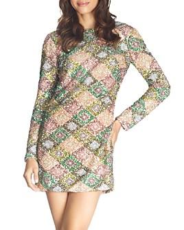 Dress the Population - Kensie Sequined Drape-Back Mini Dress