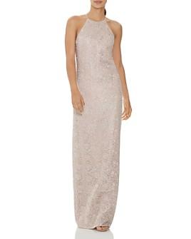 HALSTON - Metallic Embroidered Column Gown