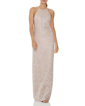 HALSTON - Metallic Embroidered Column Gown