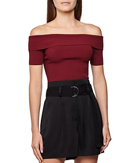 REISS - Matilda Ribbed Off-the-Shoulder Top