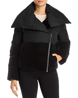 Armani - Short Velvet-Detail Puffer Coat
