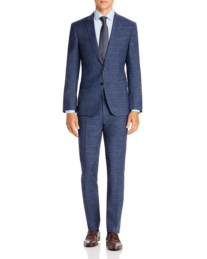 BOSS - Huge/Genius Mélange Plaid Slim Fit Suit