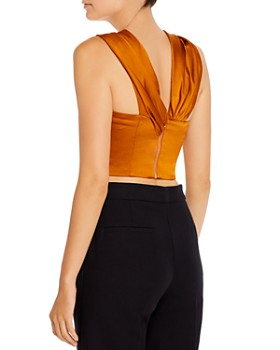 Amur - Xena Draped Satin Crop Top