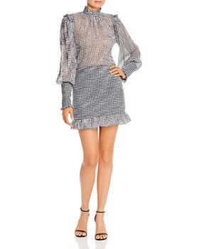 Bec & Bridge - Nadine Ruffled Checked Mini Dress