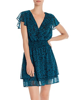 AQUA - Jaguar-Print Faux-Wrap Dress - 100% Exclusive