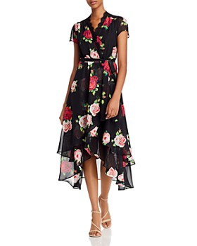 Betsey Johnson - Floating Roses Faux Wrap-Front Dress