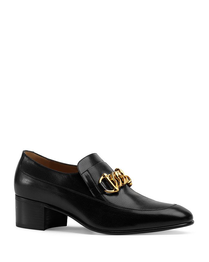 Gucci - Men's Leather Horsebit Chain Loafers