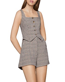 BCBGENERATION - Plaid Button-Front Romper
