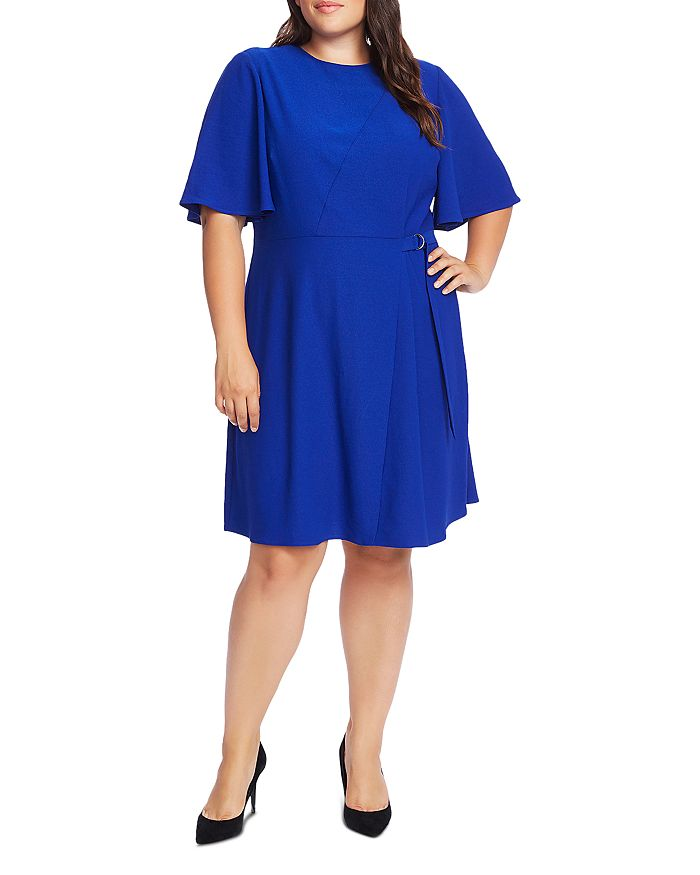 Rumpled Satin Flutter-Sleeve Dress