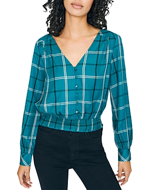 Sanctuary Tops PLAID SMOCKED-HEM TOP