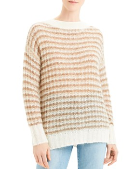 Theory - Striped Boat-Neck Sweater