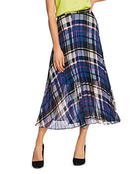 VINCE CAMUTO - Plaid Escape Pleated Midi Skirt
