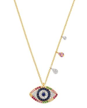 Meira T 14K Yellow & White Gold Rainbow Evil Eye Pendant Necklace with Diamonds, 18