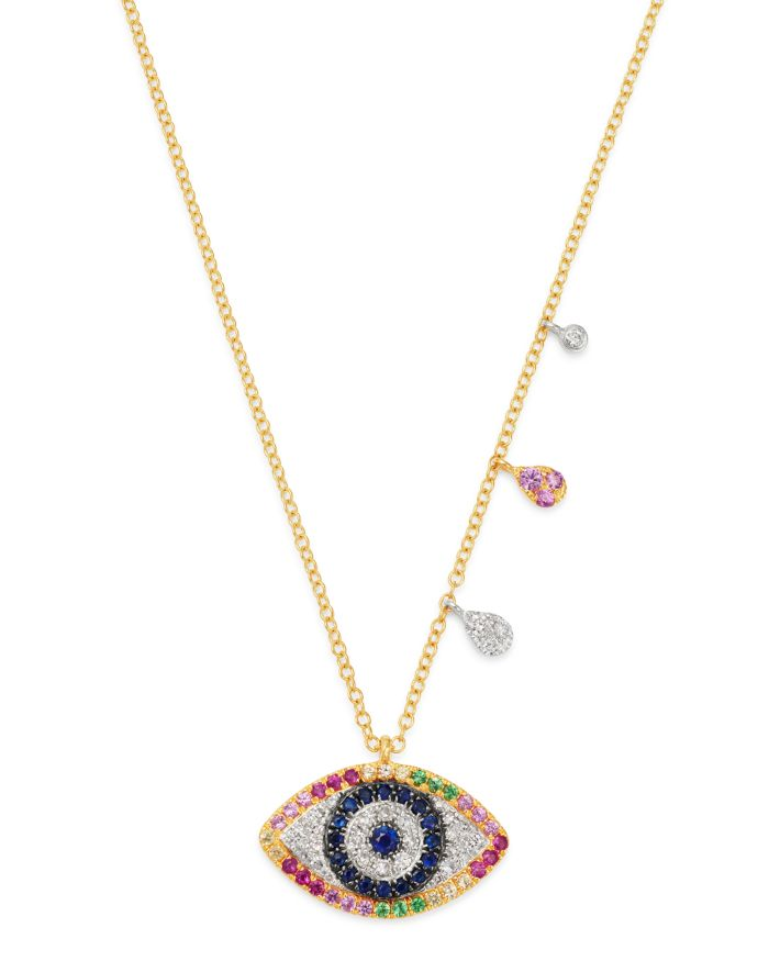 """Meira T 14K Yellow & White Gold Rainbow Evil Eye Pendant Necklace with Diamonds, 18""""    Bloomingdale's"""