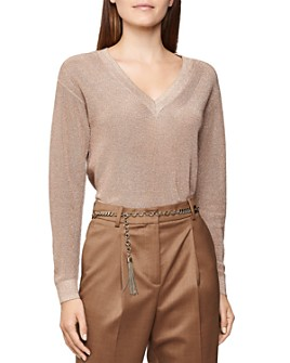 REISS - Effie Metallic V-Neck Sweater