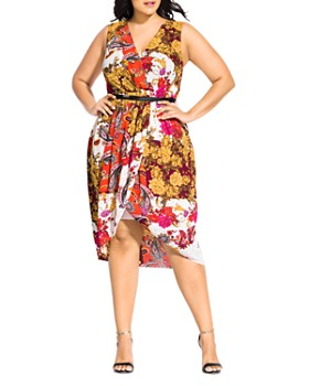 City Chic Plus - Floral Opulence Belted Dress