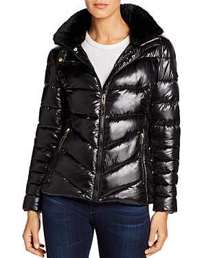 Via Spiga Faux Fur Trim Short Puffer Coat-Women