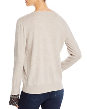 Fabiana Filippi - Plaid-Cuff V-Neck Sweater