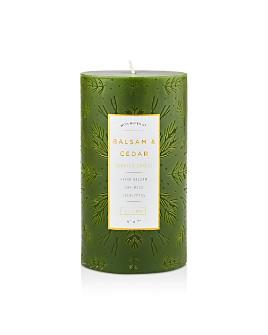Illume - Balsam & Cedar Large Etched Pillar Candle
