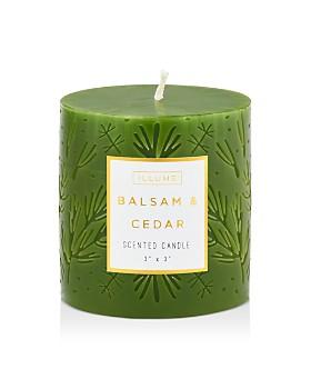 Illume - Balsam & Cedar Small Etched Pillar Candle