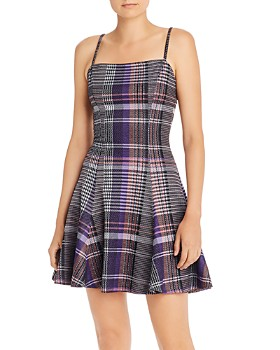 AQUA - Plaid Fit-and-Flare Dress - 100% Exclusive