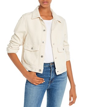 AG - Workwear Cropped Corduroy Jacket in Ivory Dust