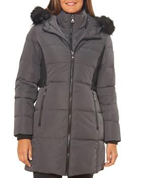 VINCE CAMUTO - Faux Fur-Trim Contrast Knit Puffer Coat
