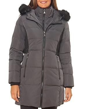 Vince Camuto Faux Fur Trim Contrast Knit Puffer Coat-Women
