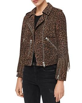 ALLSAINTS - ALLSAINTS X Fringe-Trim Leopard-Print Suede Biker Jacket - 100% Exclusive