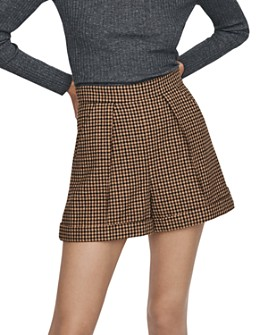 Maje - Wool-Blend Pleated Houndstooth Shorts
